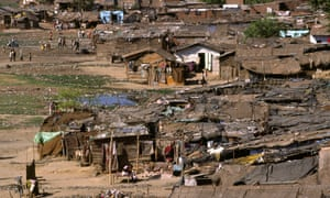 A slum on banks of Sabarmati River.