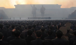 the unveiling ceremony of two statues of former leaders Kim Jong-il (right) and Kim Il-sung in Pyongyang in 2012.