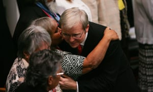 Kevin Rudd hugs Indigenous guests after his apology to members of the stolen generations at Parliament House in Canberra on 13 February 2008.