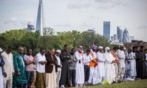 Muslims celebrate Eid in London.