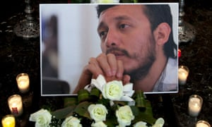 A photograph of murdered photojournalist Ruben Espinosa at his wake on 3 August 2015.