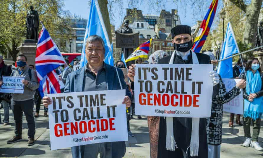 A protest outside the UK parliament in support of Uyghur Muslims on Thursday.