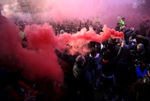 Flares are set off at before Sunday's big clash between Liverpool and Manchester City. Shades of the Champions League quarter-final in 2018, but without the violence.