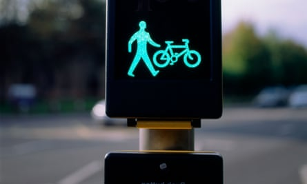Pedestrian and cyclist traffic signal, Cardiff Wales, UK
