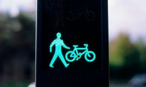 Pedestrian and cyclist traffic signal in Cardiff, Wales