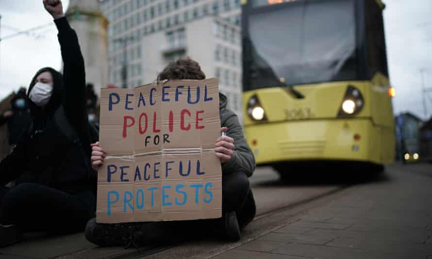 The protest in St Peter's Square in Manchester city centre affected transport, according to police but was otherwise largely 'peaceful'.