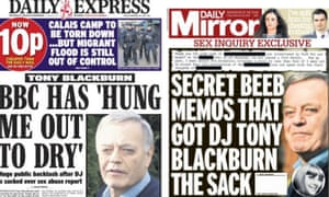 The Blackburn effect reflected in the Daily Express and Daily Mirror.