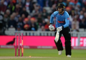 Phil Salt of Sussex is run out.
