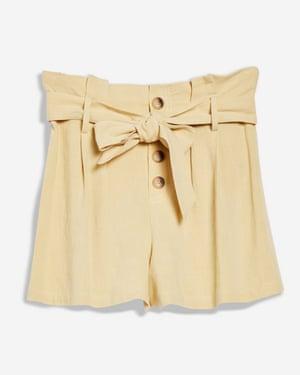 Linen button paper bag shorts