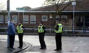A police cordon near St George's primary school in Penilee, Glasgow.