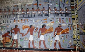 Giza, Egypt Paintings in the tomb of a noble from the time of one of the earliest pharaonic dynasties, in Saqqara