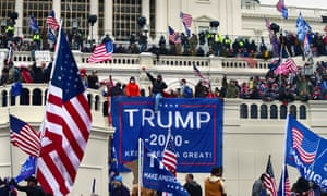 A pro-Trump mob breaches the Capitol on 6 January, days before Trump was banned from Twitter.