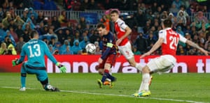 Lionel Messi scores the third goal for Barcelona.