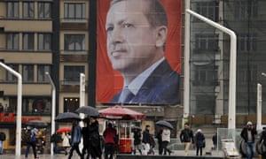 A poster of Erdoğan in Taksim Square, Istanbul