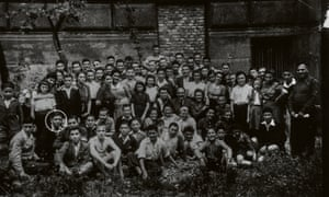 Some of the children who came to the Lake District, photographed in Prague in August 1945, a few days before they left for the UK. Hersh, circled, can be seen in the second row from the front.