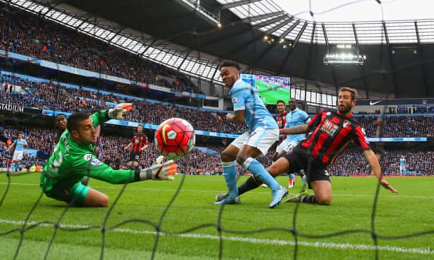 Raheem Sterling scores against Bournemouth