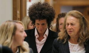 Andrea Constand leaves court on Friday.