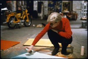 Andy Warhol with Spray Paint and Moped, The Factory, c. 1965
