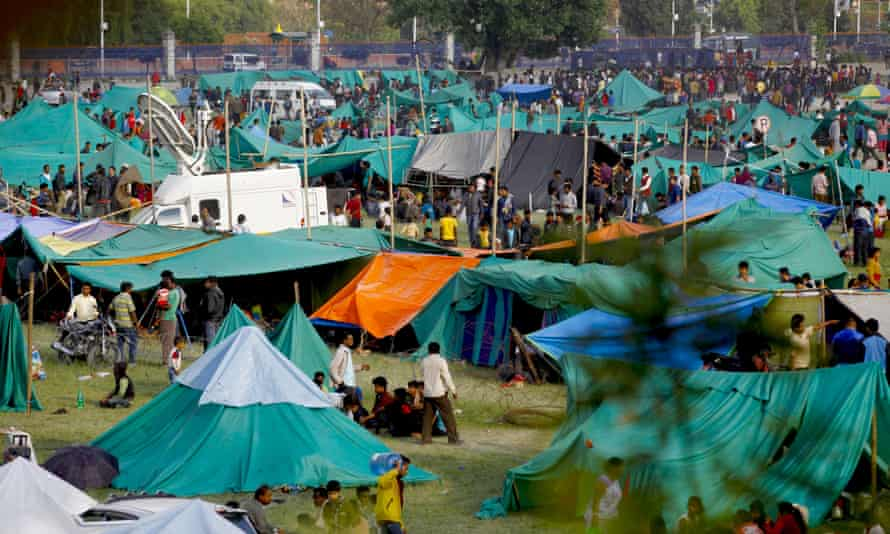 Temporary shelters for victims in Kathmandu.