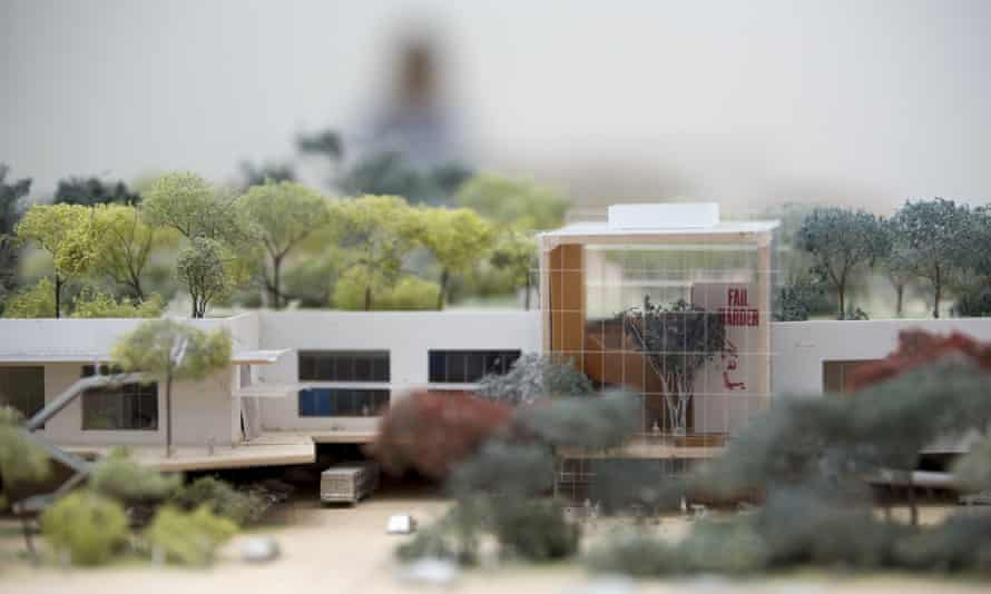 A scale model of Facebook's West Campus building.