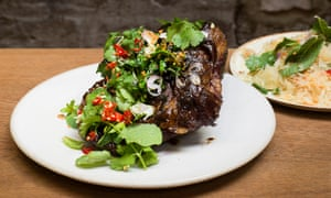 Signature dish: smoked goat shoulder with Thai herbs.