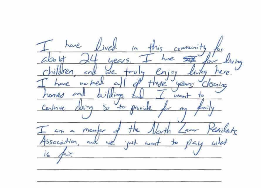 Natalia Santiago's statement as part of North Lamar residents' lawsuit.