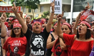 Supporters of Brazilian former President Luiz Inácio Lula da Silva take part in a protest marking one year of his arrest, in Sao Paulo, Brazil on 7 April 2019.