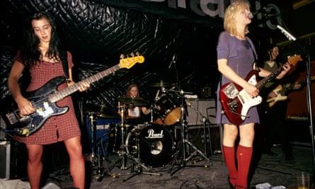 From left: Kristen Pfaff, Patty Schemel, Courtney Love and Eric Erlandson