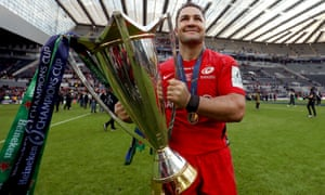 Brad Barritt, the Saracens captain, celebrates with the Champions Cup