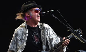 Neil Young performing at Hyde Park, London, July 2019.