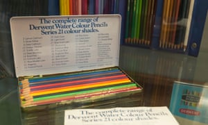 An ancient colour pencil box at the Keswick Pencil Museum, Cumbria, UK.