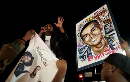 Stevante Clark speaks to the crowd during a vigil to protest the police shooting of his brother, Stephon Clark.