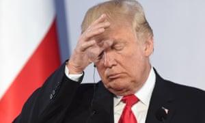Donald Trump hand on head