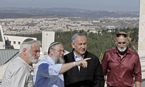Benjamin Netanyahu meeting with heads of Israeli settlement authorities at the Alon Shvut settlement in the West Bank on Tuesday