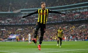 Gerard Deulofeu celebrates after scoring Watford's third goal in extra-time.