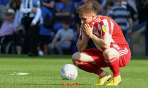 Sunderland's Lynden Gooch reacts at the final whistle.