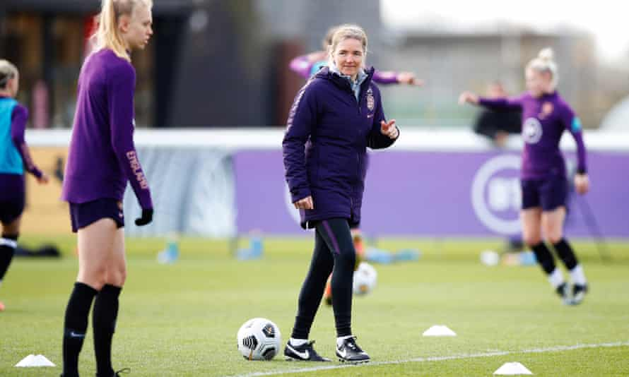 Hege Riise takes an England training session at St George's Park on Thursday.
