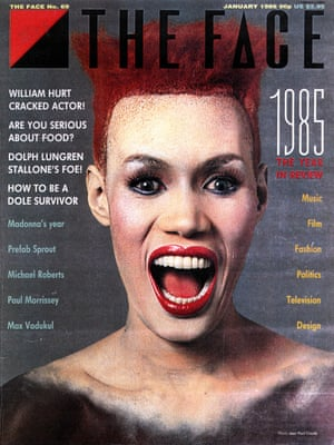 Grace Jones on the cover of the January 1986 issue.