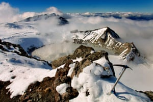 The summit and crater lake of Mount Ruapehu: climbers have been warned to stay out of the summit hazard zone.