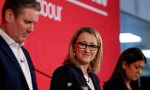 Keir Starmer, Rebecca Long-Bailey and Lisa Nandy at a hustings event in London.