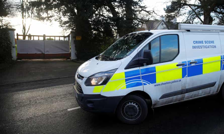 A Cheshire Police crime scene investigation unit outside Ed Woodward's home on Wednesday.