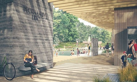 An artist's impression of a newly restored Peckham Lido, ahead of a crowdfunding drive last summer.