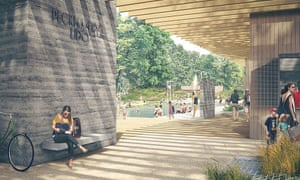 An artist's impression of the new Peckham Lido.