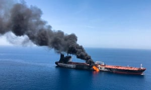 The oil tanker was attacked at the Gulf of Oman, in waters between Gulf Arab states and Iran.