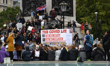 Protest against Covid-19 lockdown, London, 29 August.