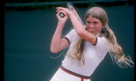 Andrea Jaeger in action at Wimbledon at the age of 14