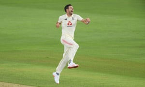 Jimmy Anderson jumps for joy after Azhar Ali is caught by Rory Burns.