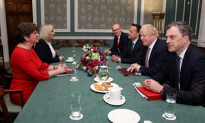 Northern Ireland's first minister Arlene Foster and deputy first minister Michelle O'Neill, Ireland's foreign minister Simon Coveney, Ireland's taoiseach Leo Varadkar, Britain's prime minister Boris Johnson and Britain's Northern Ireland secretary Julian Smith