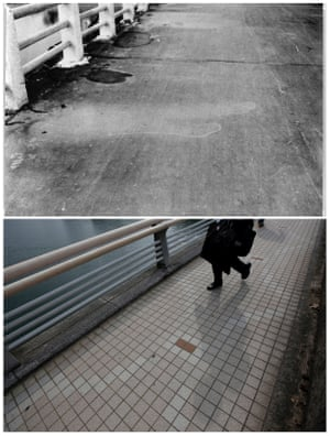 The etched shadow of a passerby that was imprinted on the road surface of Yorozuyo Bridge, due to the heat of the atomic bombing of Hiroshima. This location was 860 meters (2,822 ft) from the centre of the blast; the unshielded asphalt surface was scorched, while the areas that were shielded are a lighter colour