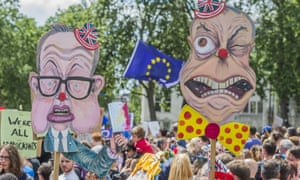 Michael Gove and Nigel Farage caricatures are held by remain supporters at a pro-EU rally in London in June